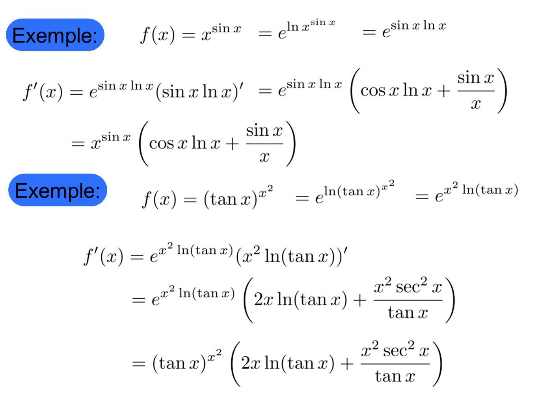 Faites les exercices suivants Calculer la dérivée des fonctions suivantes 1) 2) 3)