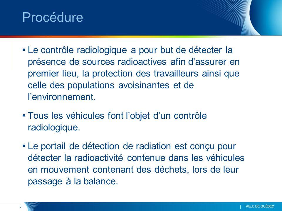 6 VILLE DE QUÉBEC Équipements Un portail RC – 2000 de la firme Radcomm Un détecteur portatif Sam Revealer 940-2L Coût : 100 000 $ / par site