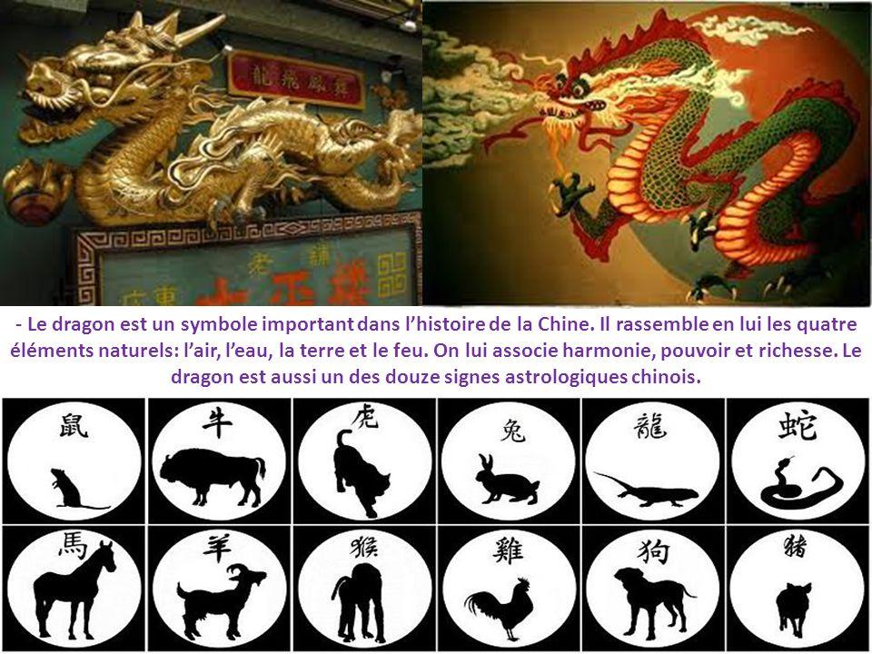 - Le dragon est un symbole important dans lhistoire de la Chine. Il rassemble en lui les quatre éléments naturels: lair, leau, la terre et le feu. On