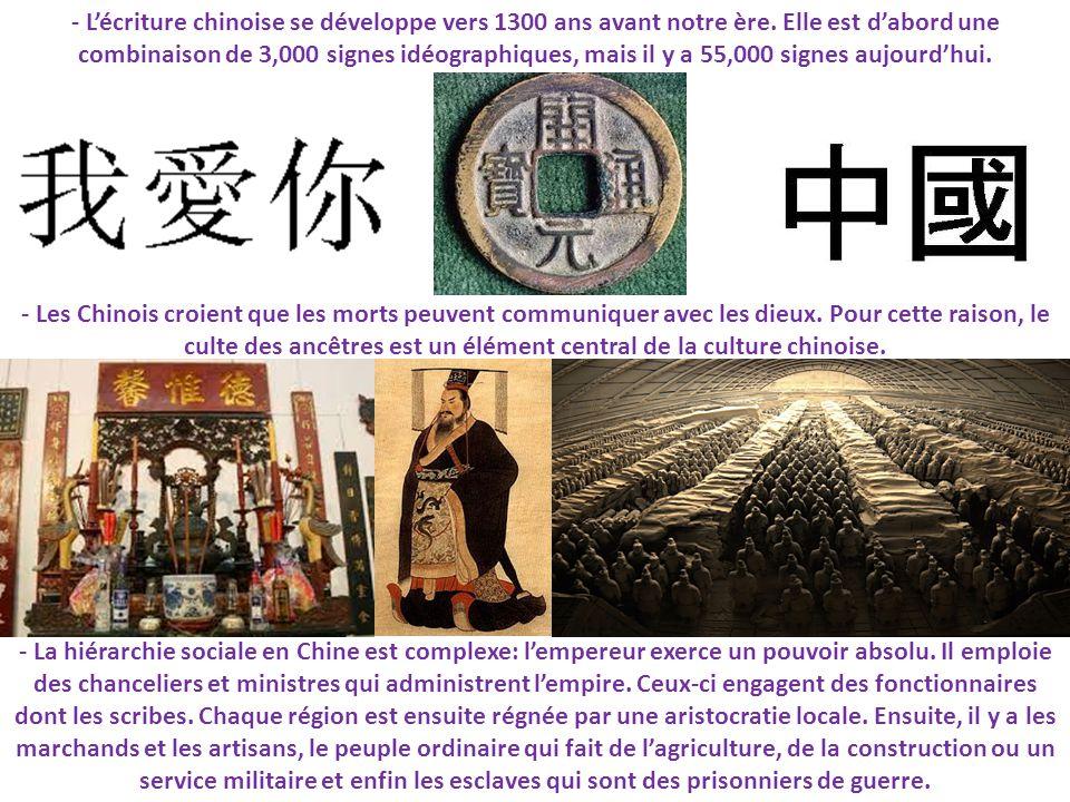 - Lécriture chinoise se développe vers 1300 ans avant notre ère. Elle est dabord une combinaison de 3,000 signes idéographiques, mais il y a 55,000 si
