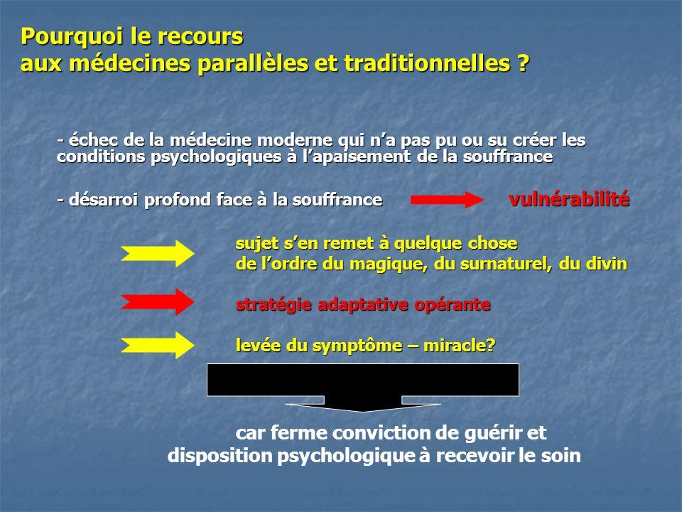 Pourquoi le recours aux médecines parallèles et traditionnelles ? - échec de la médecine moderne qui na pas pu ou su créer les conditions psychologiqu
