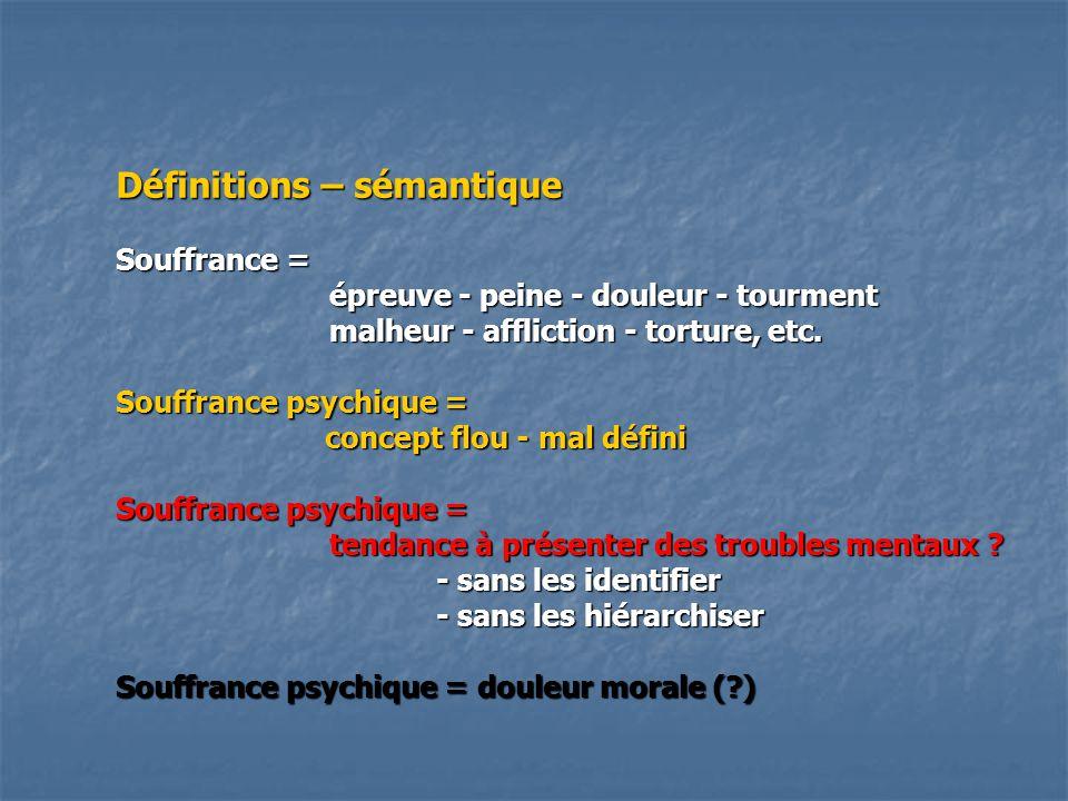 Définitions – sémantique Souffrance = épreuve - peine - douleur - tourment malheur - affliction - torture, etc. Souffrance psychique = concept flou -
