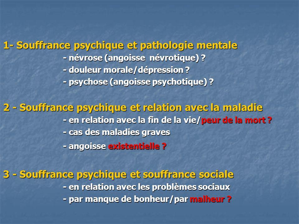 1- Souffrance psychique et pathologie mentale - névrose (angoisse névrotique) ? - douleur morale/dépression ? - psychose (angoisse psychotique) ? 2 -