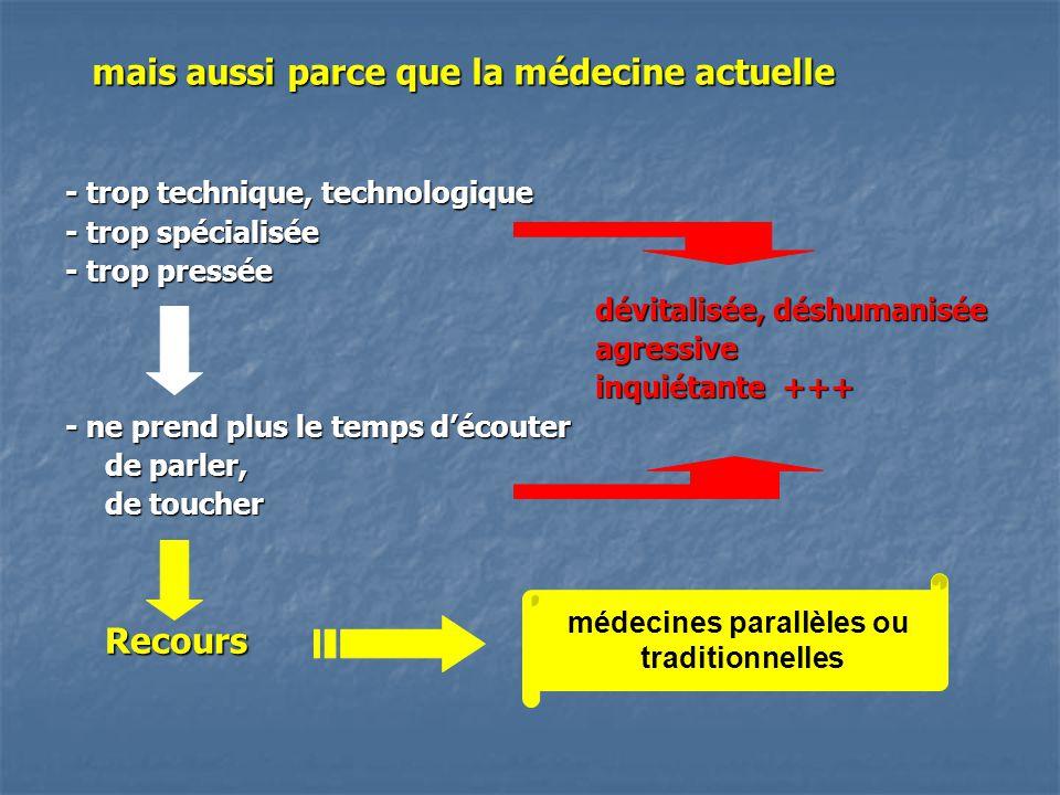 mais aussi parce que la médecine actuelle - trop technique, technologique - trop spécialisée - trop pressée dévitalisée, déshumanisée agressive inquié