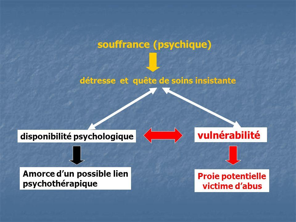 souffrance (psychique) détresse et quête de soins insistante vulnérabilité disponibilité psychologique Amorce dun possible lien psychothérapique Proie