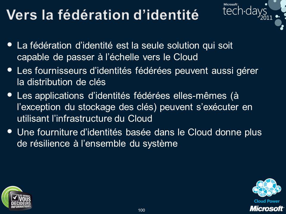 100 La fédération didentité est la seule solution qui soit capable de passer à léchelle vers le Cloud Les fournisseurs didentités fédérées peuvent aus