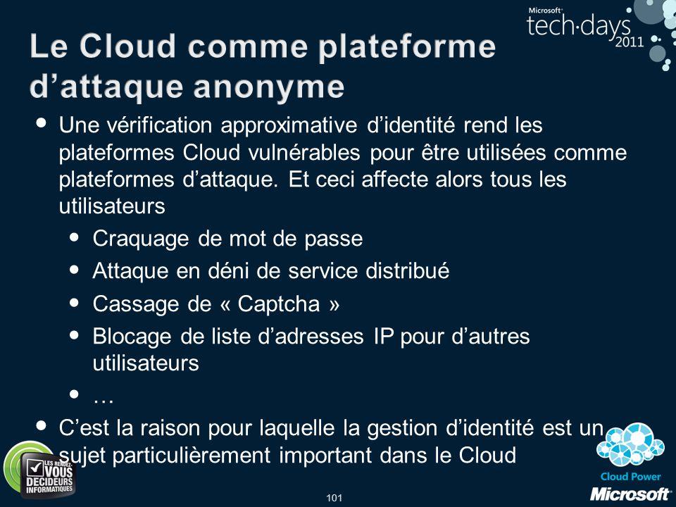 101 Une vérification approximative didentité rend les plateformes Cloud vulnérables pour être utilisées comme plateformes dattaque. Et ceci affecte al