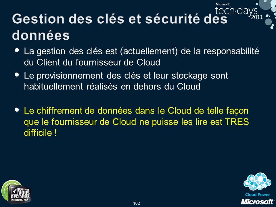 102 La gestion des clés est (actuellement) de la responsabilité du Client du fournisseur de Cloud Le provisionnement des clés et leur stockage sont ha