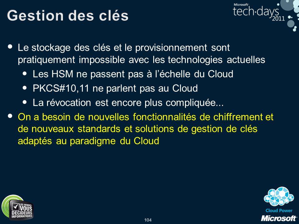 104 Le stockage des clés et le provisionnement sont pratiquement impossible avec les technologies actuelles Les HSM ne passent pas à léchelle du Cloud