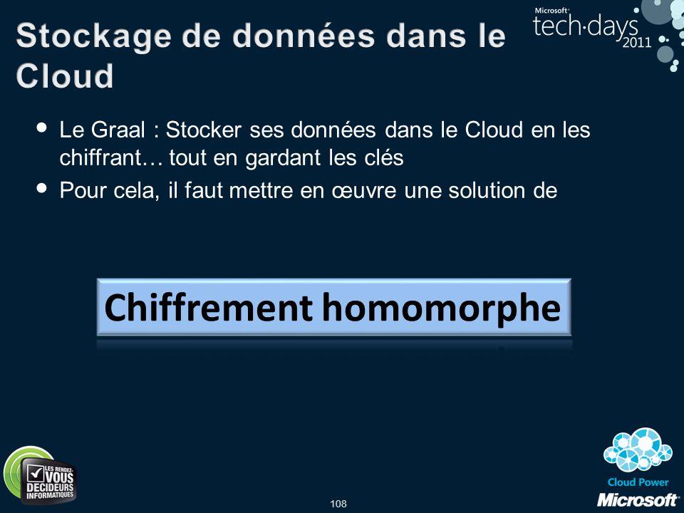 108 Le Graal : Stocker ses données dans le Cloud en les chiffrant… tout en gardant les clés Pour cela, il faut mettre en œuvre une solution de