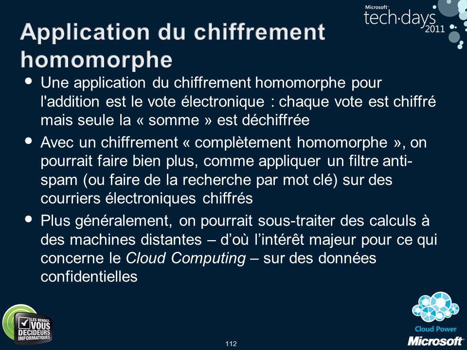112 Une application du chiffrement homomorphe pour l'addition est le vote électronique : chaque vote est chiffré mais seule la « somme » est déchiffré