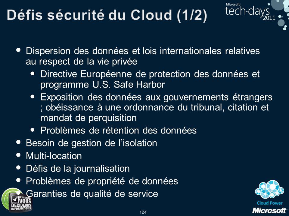 124 Dispersion des données et lois internationales relatives au respect de la vie privée Directive Européenne de protection des données et programme U