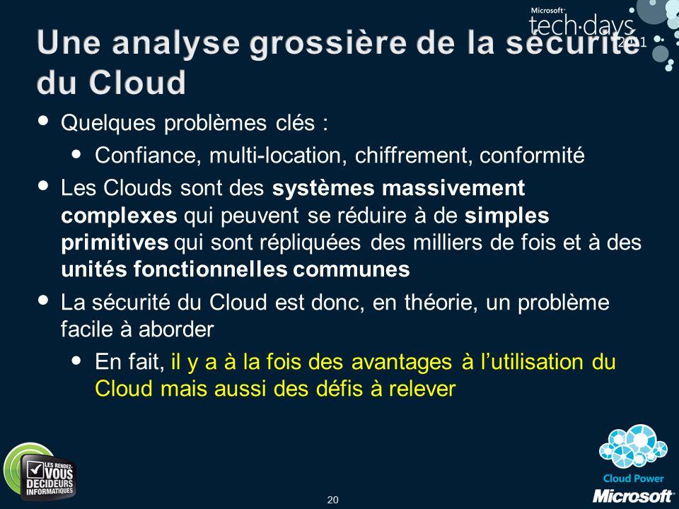 20 Quelques problèmes clés : Confiance, multi-location, chiffrement, conformité Les Clouds sont des systèmes massivement complexes qui peuvent se rédu