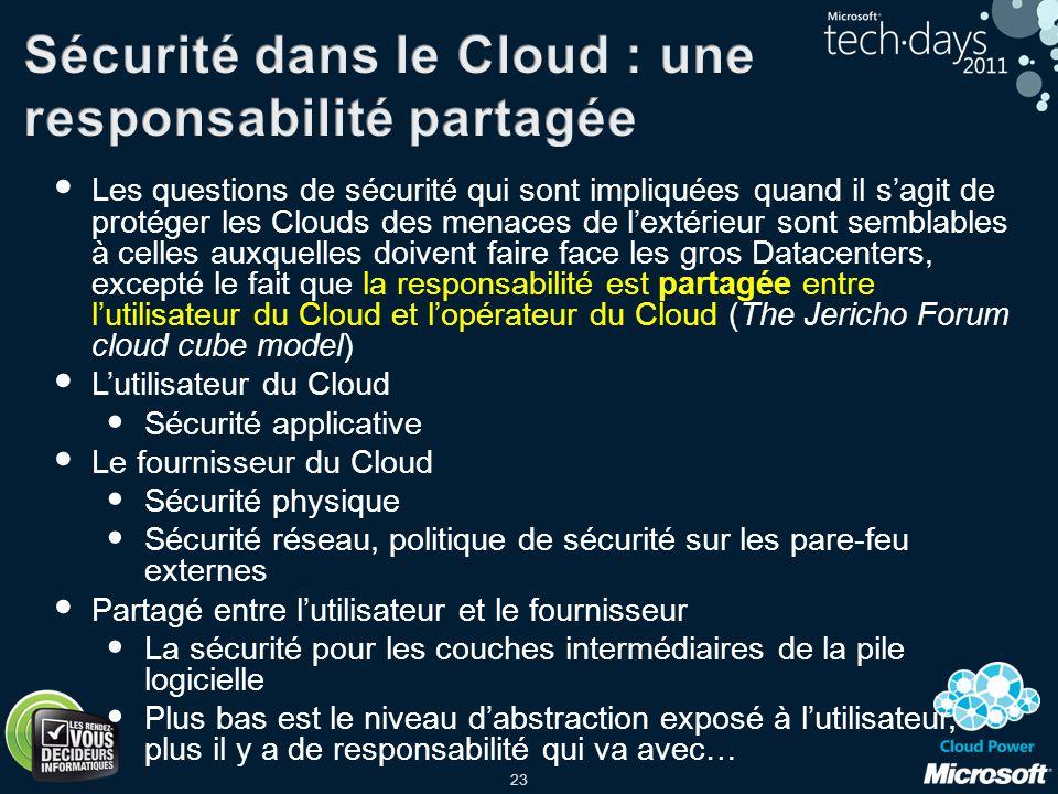 23 Les questions de sécurité qui sont impliquées quand il sagit de protéger les Clouds des menaces de lextérieur sont semblables à celles auxquelles d