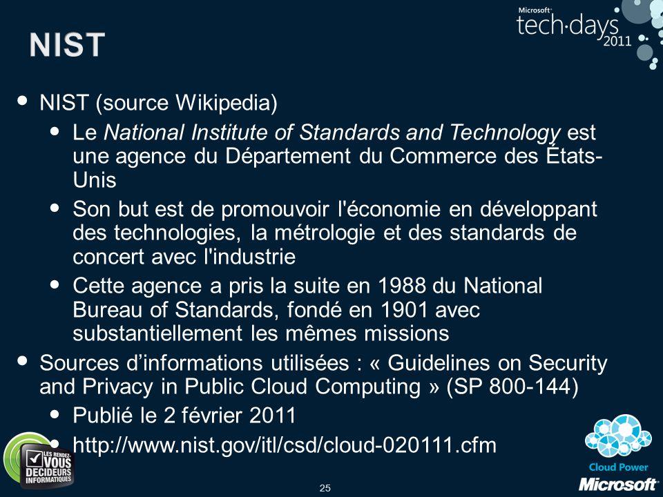 25 NIST (source Wikipedia) Le National Institute of Standards and Technology est une agence du Département du Commerce des États- Unis Son but est de