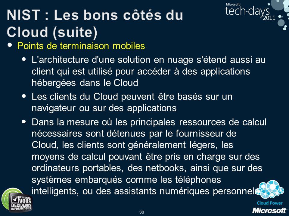 30 Points de terminaison mobiles L'architecture d'une solution en nuage s'étend aussi au client qui est utilisé pour accéder à des applications héberg