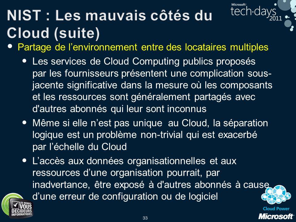 33 Partage de lenvironnement entre des locataires multiples Les services de Cloud Computing publics proposés par les fournisseurs présentent une compl