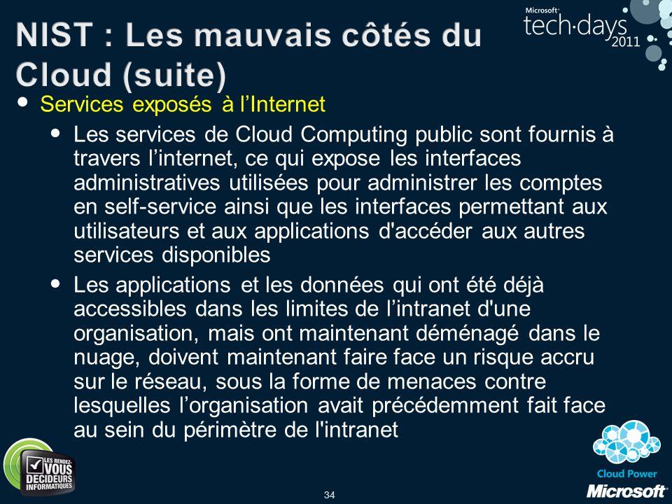 34 Services exposés à lInternet Les services de Cloud Computing public sont fournis à travers linternet, ce qui expose les interfaces administratives