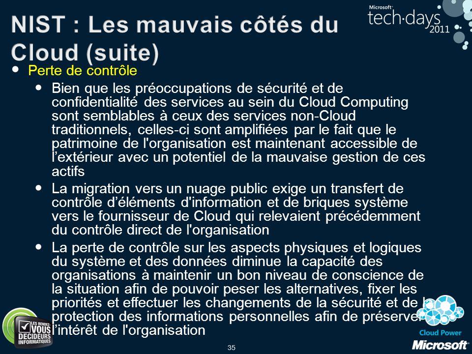 35 Perte de contrôle Bien que les préoccupations de sécurité et de confidentialité des services au sein du Cloud Computing sont semblables à ceux des