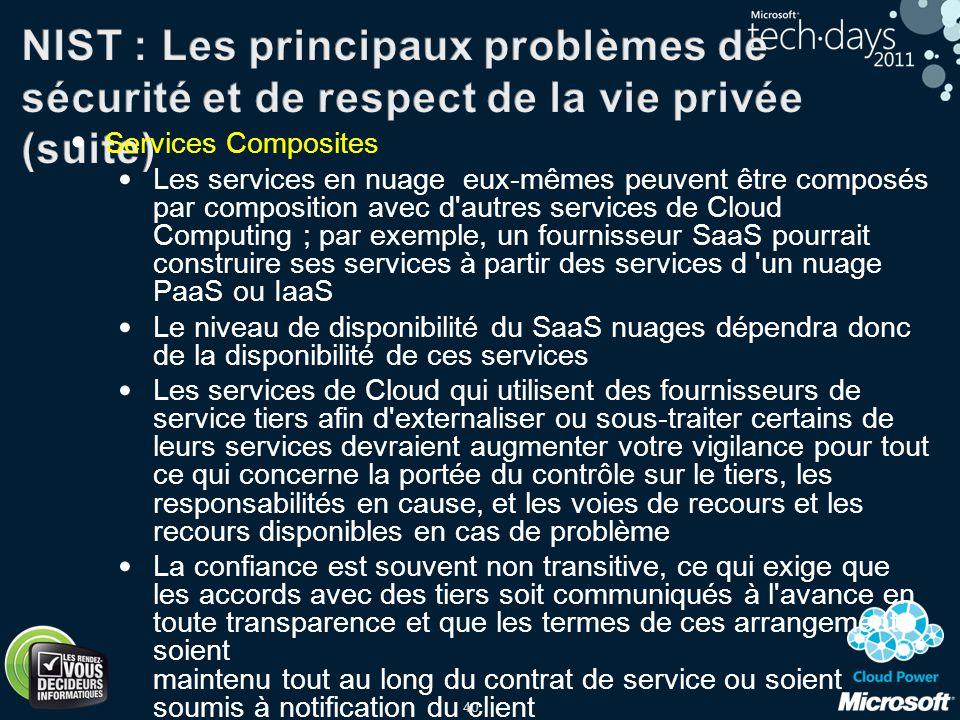 40 Services Composites Les services en nuage eux-mêmes peuvent être composés par composition avec d'autres services de Cloud Computing ; par exemple,
