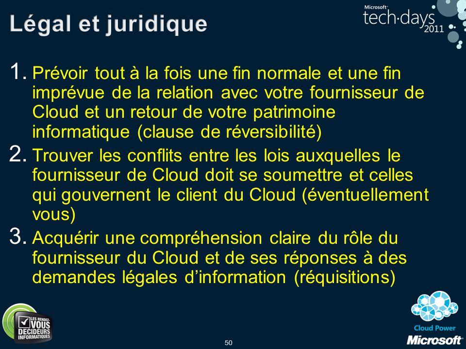 50 1. Prévoir tout à la fois une fin normale et une fin imprévue de la relation avec votre fournisseur de Cloud et un retour de votre patrimoine infor