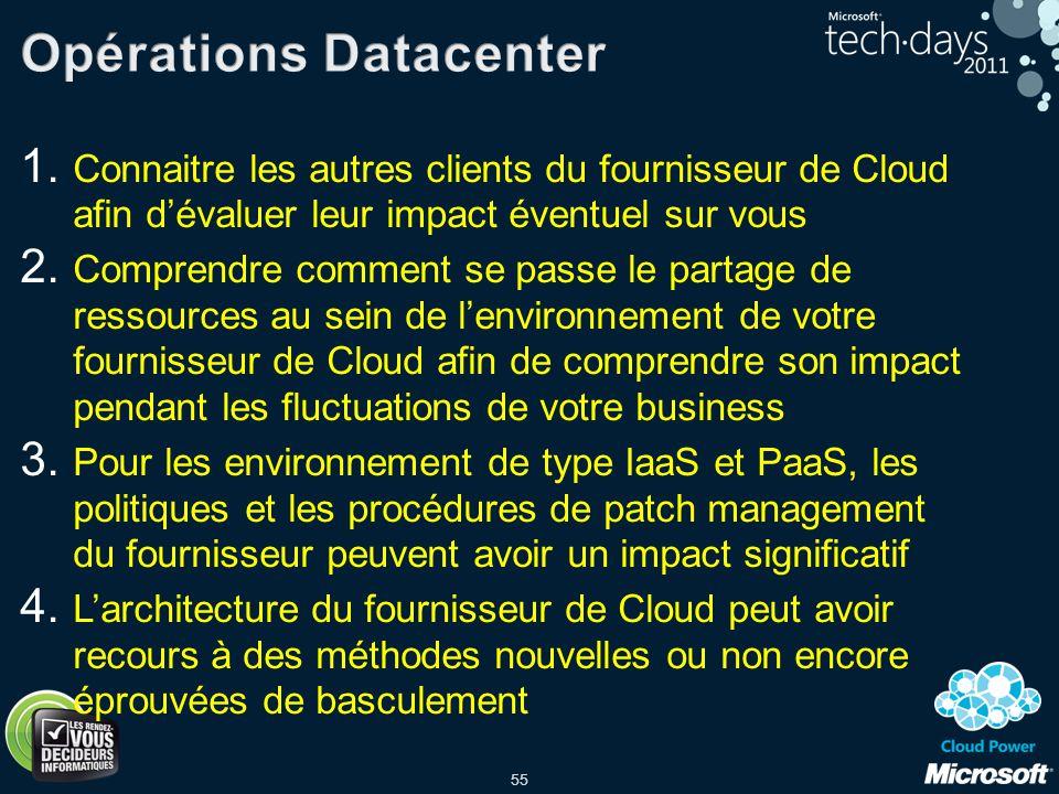 55 1. Connaitre les autres clients du fournisseur de Cloud afin dévaluer leur impact éventuel sur vous 2. Comprendre comment se passe le partage de re