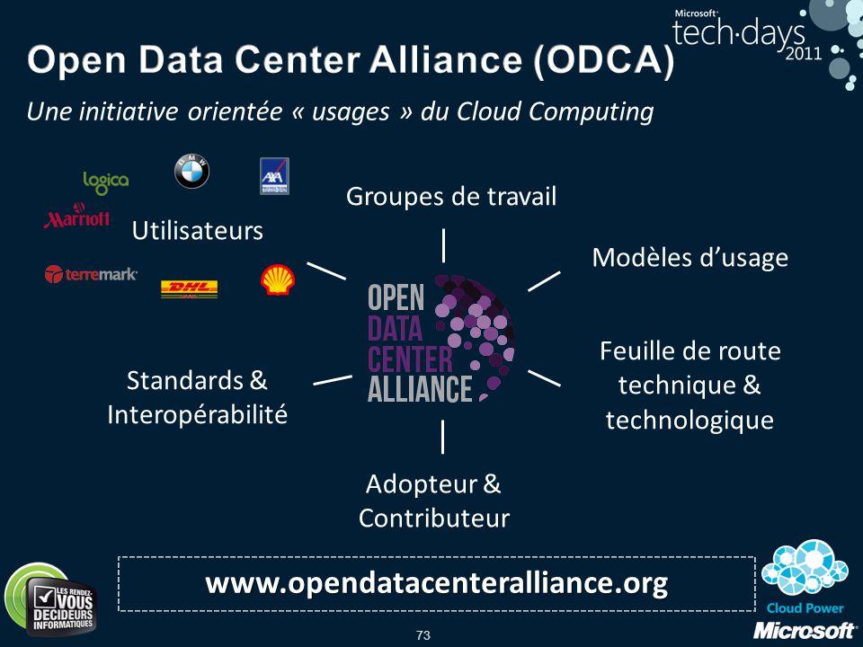 73 www.opendatacenteralliance.org Utilisateurs Standards & Interopérabilité Feuille de route technique & technologique Groupes de travail Modèles dusa