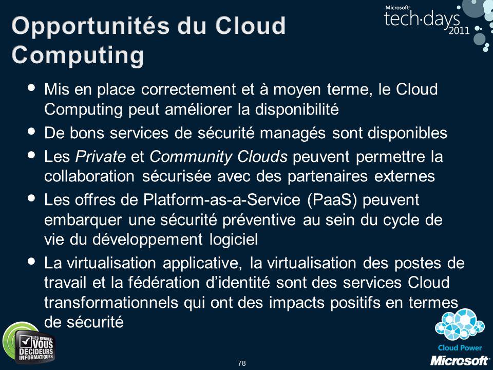 78 Mis en place correctement et à moyen terme, le Cloud Computing peut améliorer la disponibilité De bons services de sécurité managés sont disponible