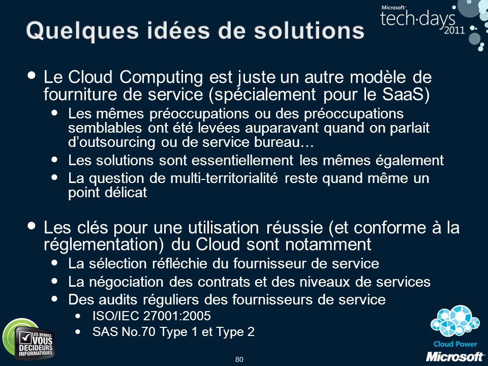 80 Le Cloud Computing est juste un autre modèle de fourniture de service (spécialement pour le SaaS) Les mêmes préoccupations ou des préoccupations se