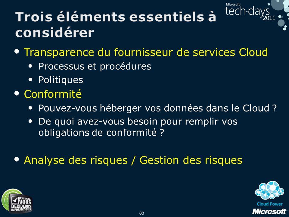 83 Transparence du fournisseur de services Cloud Processus et procédures Politiques Conformité Pouvez-vous héberger vos données dans le Cloud ? De quo