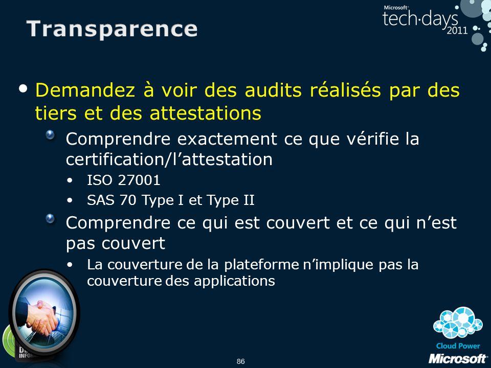 86 Demandez à voir des audits réalisés par des tiers et des attestations Comprendre exactement ce que vérifie la certification/lattestation ISO 27001