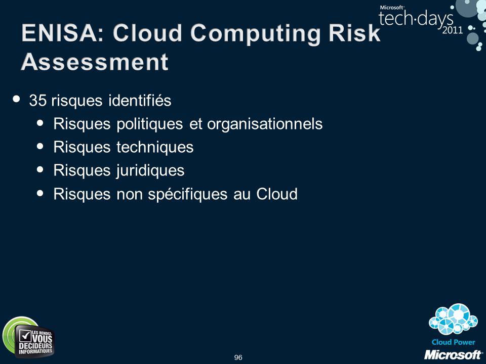 96 35 risques identifiés Risques politiques et organisationnels Risques techniques Risques juridiques Risques non spécifiques au Cloud