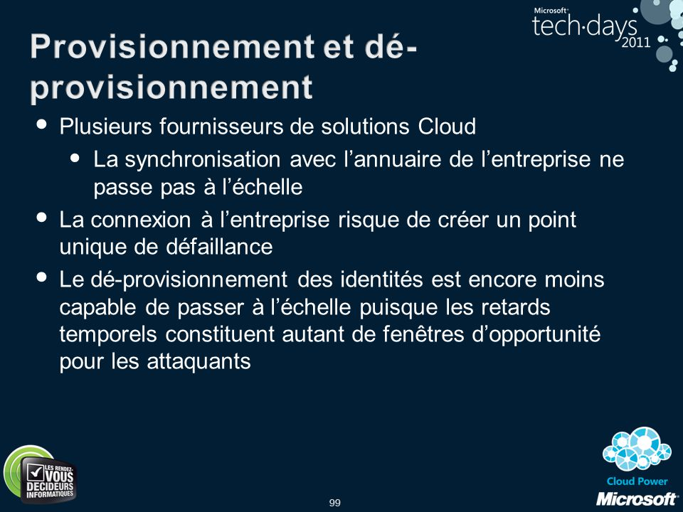 99 Plusieurs fournisseurs de solutions Cloud La synchronisation avec lannuaire de lentreprise ne passe pas à léchelle La connexion à lentreprise risqu