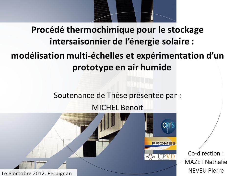 Procédé thermochimique pour le stockage intersaisonnier de lénergie solaire : modélisation multi-échelles et expérimentation dun prototype en air humi