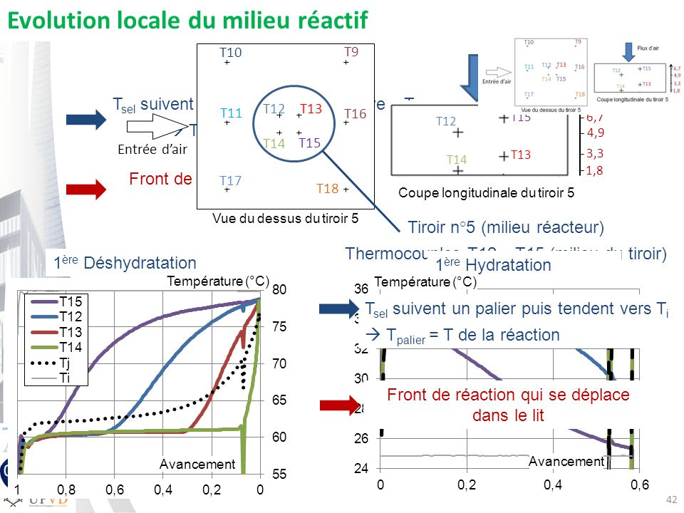 T sel suivent un palier puis tendent vers T i T palier = T de la réaction Front de réaction qui se déplace dans le lit Entrée dair T10 T16 T13 T12 T18 T9 T14 T15 T11 T17 Vue du dessus du tiroir 5 42 Evolution locale du milieu réactif 1 ère Déshydratation 4,9 1,8 3,3 6,7 T12 T13 T15 T14 Flux dair Coupe longitudinale du tiroir 5 T sel suivent un palier puis tendent vers T i T palier = T de la réaction Tiroir n°5 (milieu réacteur) Thermocouples T12 – T15 (milieu du tiroir) Front de réaction qui se déplace dans le lit Avancement Température (°C) Avancement 1 ère Hydratation Température (°C)