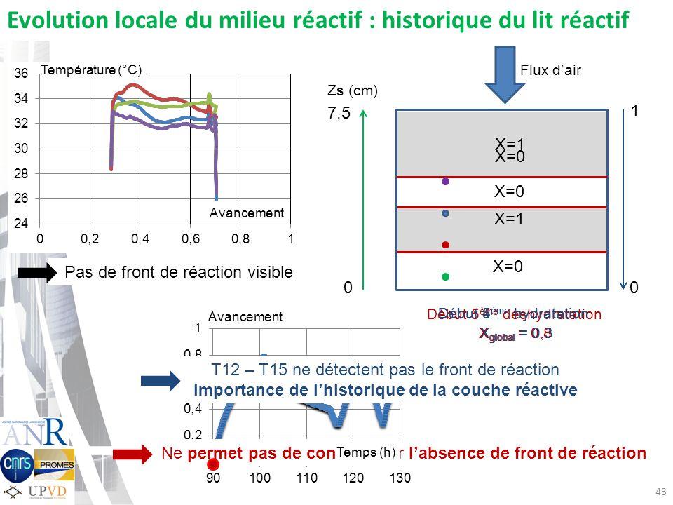 Début 4 ème hydratation 43 0 1 X=1 X=0 X global = 0 0 7,5 Flux dair Evolution locale du milieu réactif : historique du lit réactif X=1 Zs (cm) T12 – T15 ne détectent pas le front de réaction Importance de lhistorique de la couche réactive Ne permet pas de conclure sur labsence de front de réaction Avancement Température (°C) Pas de front de réaction visible Début 5 ème déshydratation X global = 0,8 Début 5 ème hydratation X global = 0,3 Avancement Temps (h)