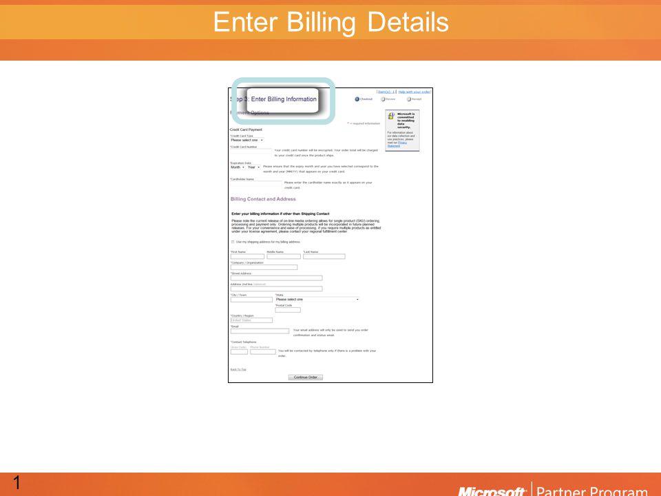 Enter Billing Details 13