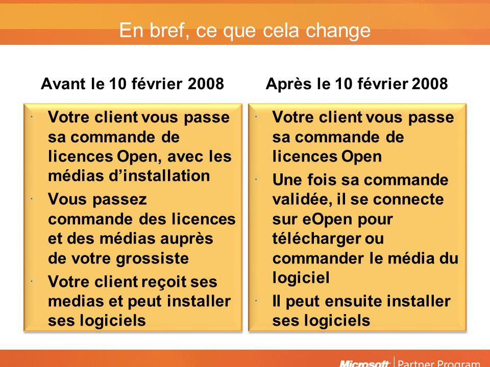 En bref, ce que cela change Avant le 10 février2008 Votre client vous passe sa commande de licences Open, avec les médias dinstallation Vous passez co