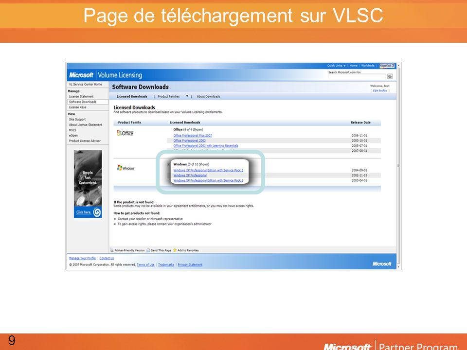 Page de téléchargement sur VLSC 9