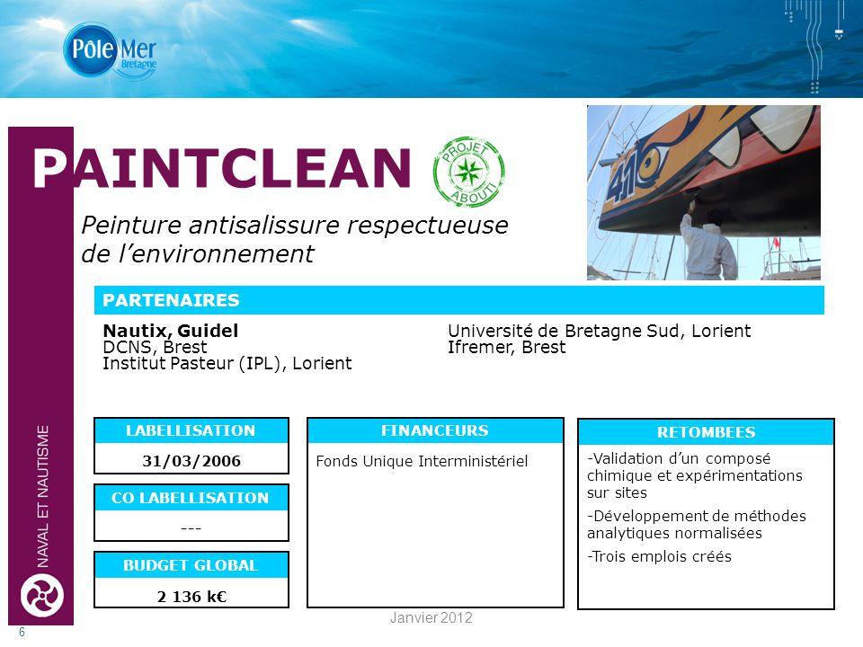 RETOMBEES 6 PARTENAIRES LABELLISATION CO LABELLISATION FINANCEURS BUDGET GLOBAL 31/03/2006 2 136 k Fonds Unique Interministériel --- PAINTCLEAN Peinture antisalissure respectueuse de lenvironnement Nautix, GuidelUniversité de Bretagne Sud, Lorient DCNS, Brest Ifremer, Brest Institut Pasteur (IPL), Lorient -Validation dun composé chimique et expérimentations sur sites -Développement de méthodes analytiques normalisées -Trois emplois créés Janvier 2012