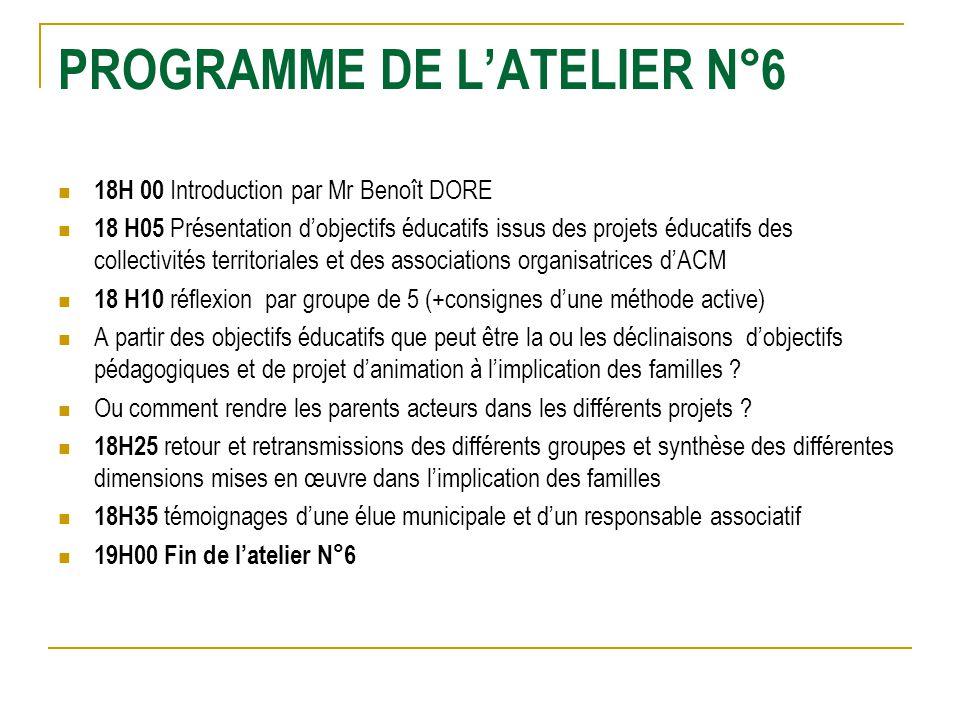 PROGRAMME DE LATELIER N°6 18H 00 Introduction par Mr Benoît DORE 18 H05 Présentation dobjectifs éducatifs issus des projets éducatifs des collectivité