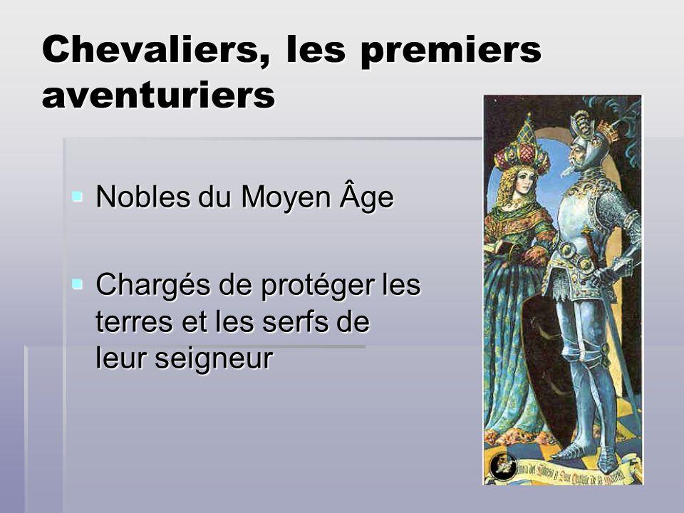 Chevaliers, les premiers aventuriers Nobles du Moyen Âge Nobles du Moyen Âge Chargés de protéger les terres et les serfs de leur seigneur Chargés de p