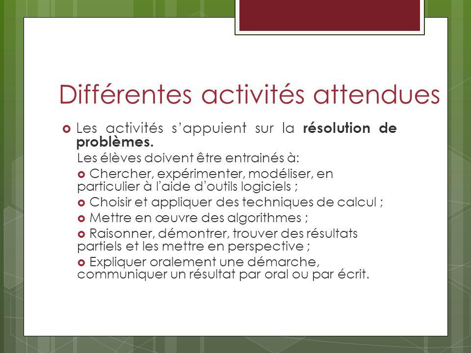 Différentes activités attendues Les activités sappuient sur la résolution de problèmes.