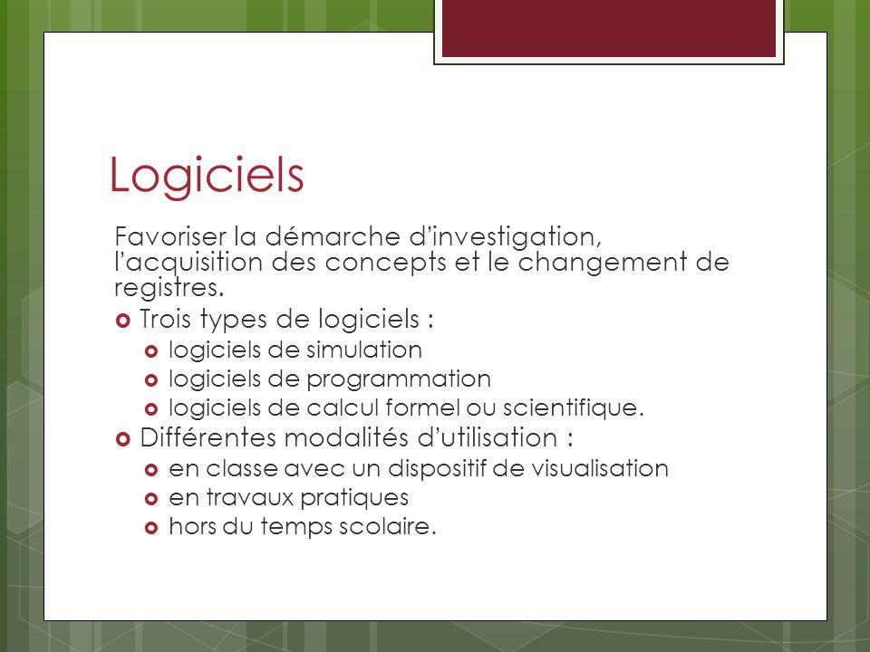 Logiciels Favoriser la démarche dinvestigation, lacquisition des concepts et le changement de registres. Trois types de logiciels : logiciels de simul