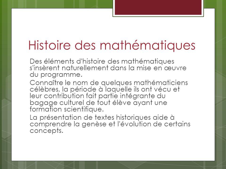Histoire des mathématiques Des éléments dhistoire des mathématiques sinsèrent naturellement dans la mise en œuvre du programme. Connaître le nom de qu