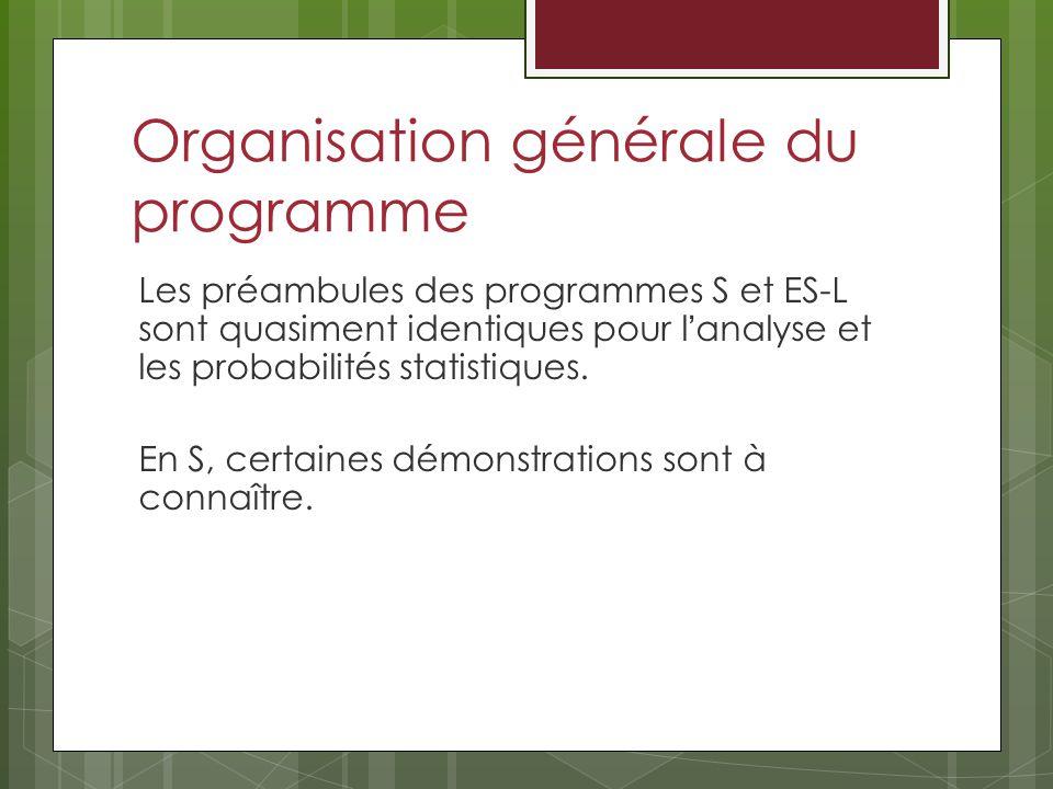 Organisation générale du programme Les préambules des programmes S et ES-L sont quasiment identiques pour lanalyse et les probabilités statistiques.