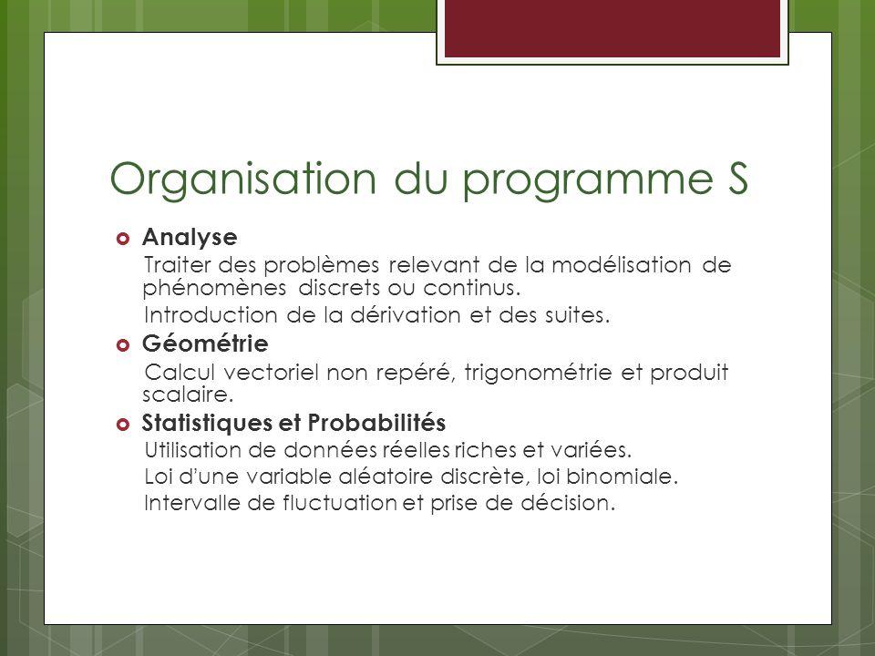 Organisation du programme S Analyse Traiter des problèmes relevant de la modélisation de phénomènes discrets ou continus. Introduction de la dérivatio