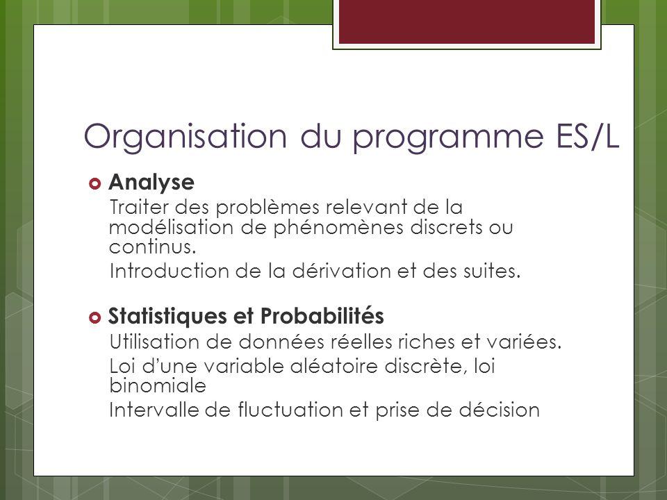 Organisation du programme ES/L Analyse Traiter des problèmes relevant de la modélisation de phénomènes discrets ou continus. Introduction de la dériva