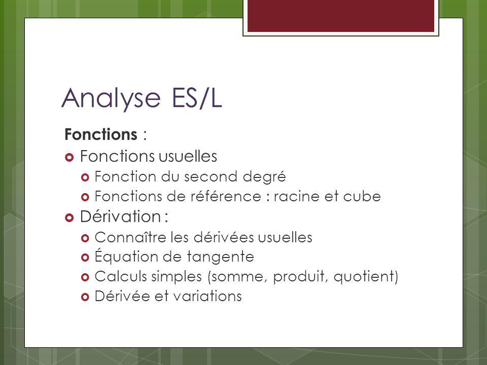 Analyse ES/L Fonctions : Fonctions usuelles Fonction du second degré Fonctions de référence : racine et cube Dérivation : Connaître les dérivées usuel