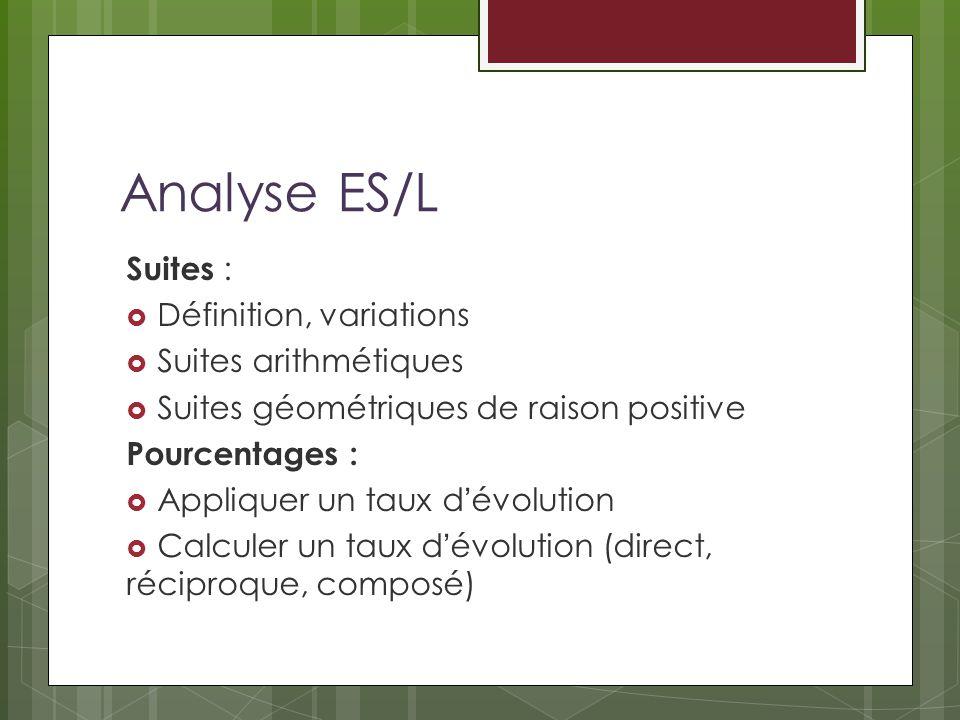 Analyse ES/L Suites : Définition, variations Suites arithmétiques Suites géométriques de raison positive Pourcentages : Appliquer un taux dévolution Calculer un taux dévolution (direct, réciproque, composé)